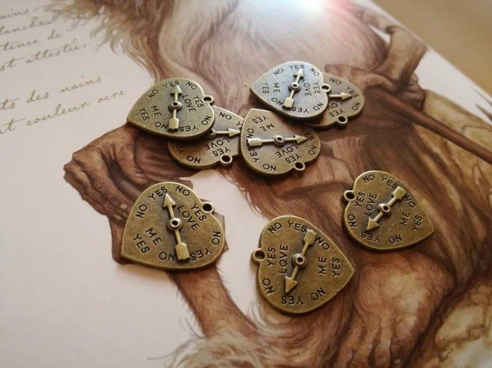 Breloque Pendentif x4 Charms Bronze Steampunk Vintage Ethnique Coeur Love Amour Flèche