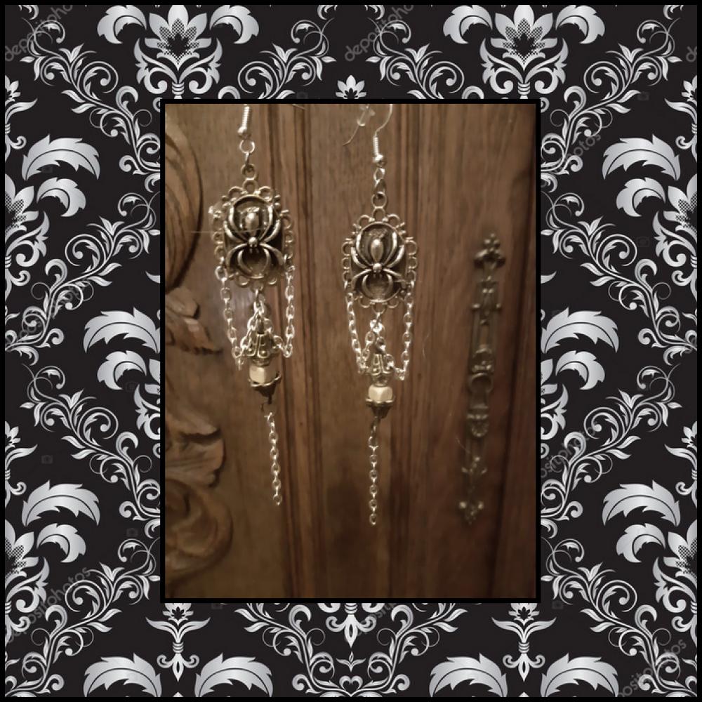 Boucle d'Oreille Gothique Dark Vampire Araignée Camé Argent Unique Perle Médiéval Longue Vintage Ethnique