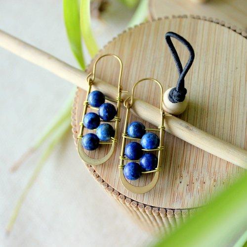 Boucles d'oreille bohème en lapis lazuli, laiton, lapis lazuli, bijoux perle de gemme, bijoux bohème, boucles spirituel, lithothérapie