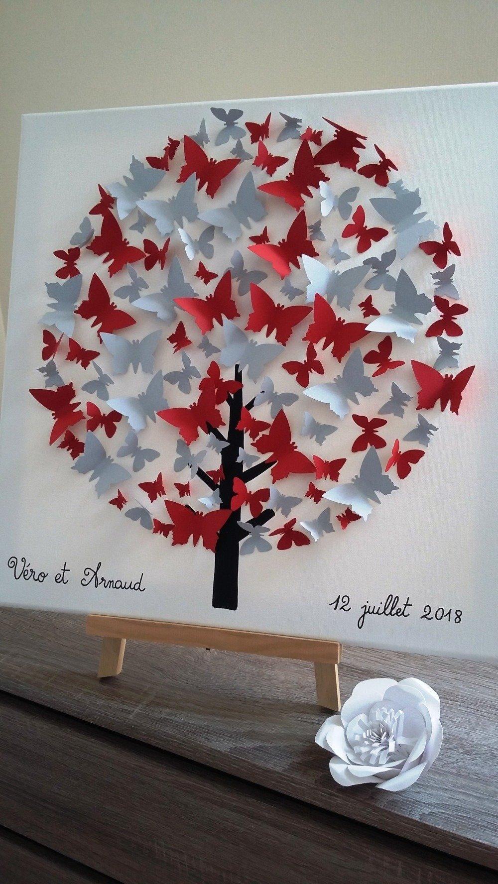 """livre d'or - arbre à signature 3d- arbre à empreintes sur une toile en coton 50x50 cm. """"Arbre aux"""