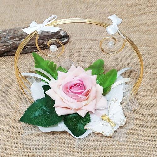 Porte alliance original, porte alliance panier de fleurs rose et or