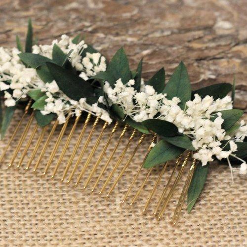 Peigne cheveux mariage, fleurs stabilisées, julie, peigne mariée, coiffure mariage.