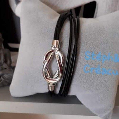 Bracelet cuir noir fermoir entrelacé aimanté