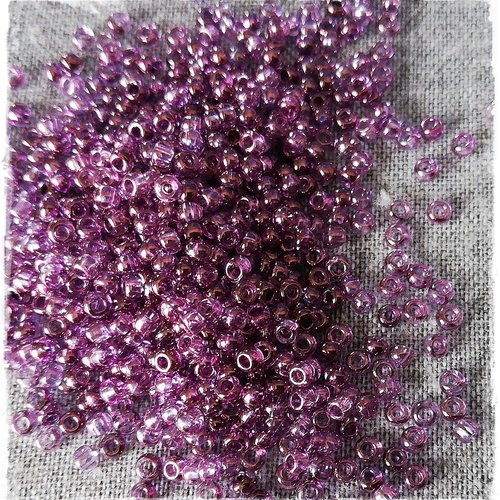 40 gr PERLES ROCAILLE  RONDE 2MM amethyste clair a 207