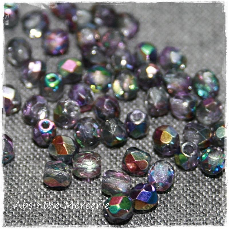 - 50 Perles Facettes de bohême - MAGIC VIOLET GREY - 4mm - Sachet de 50 -