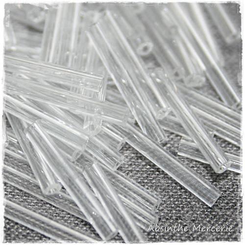 - 20gr rocailles tubes - 20mm - crystal -