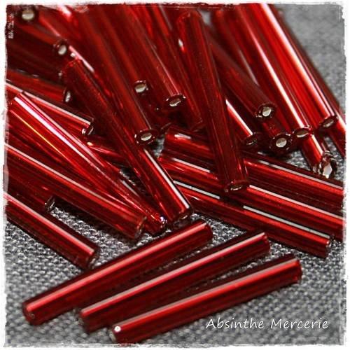 - 20gr rocailles tubes - 20mm - rubis -