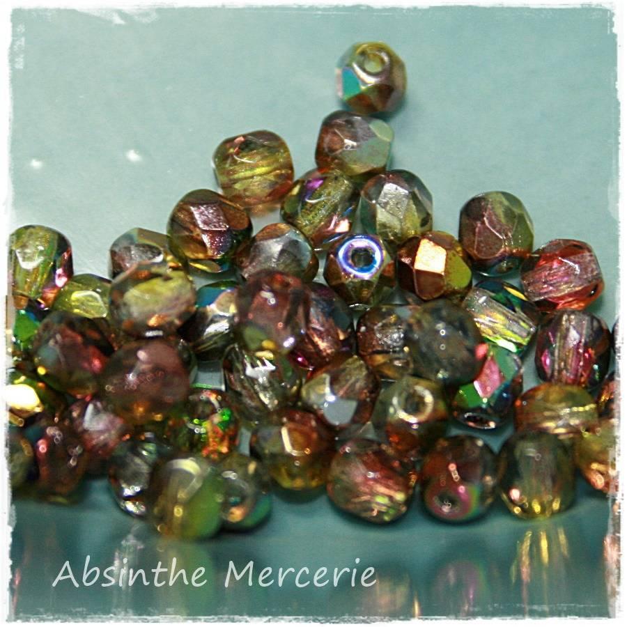 - Perles Facettes de Bohême - Magic Yellow Brown - 4mm - Sachet de 50 -