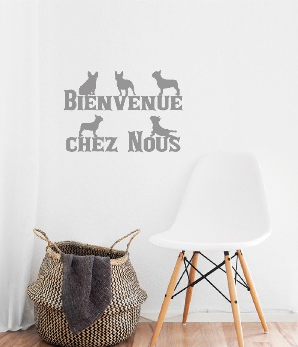 Décoration Entrée De Maison stickers chiens bouledogues français: bienvenue chez nous. décoration  entrée de maison