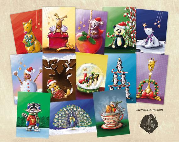 Lot de 3 Cartes de Voeux de Noël au Choix