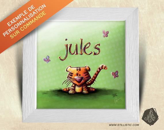 Cadre carré 25x25 avec Illustration Petite fille et ourson pour Chambre Enfant bébé