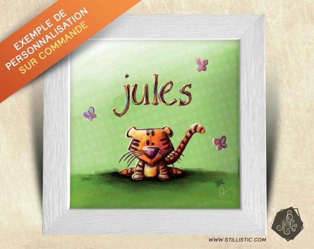 Cadre carré 25x25 cadeau Naissance avec Illustration Jungle lion et singe  pour Chambre Enfant bébé