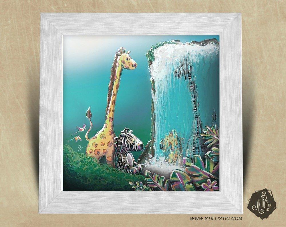 Triptyque Cadres carrés 25x25 cadeau Naissance avec Illustration Jungle pour Chambre Enfant bébé