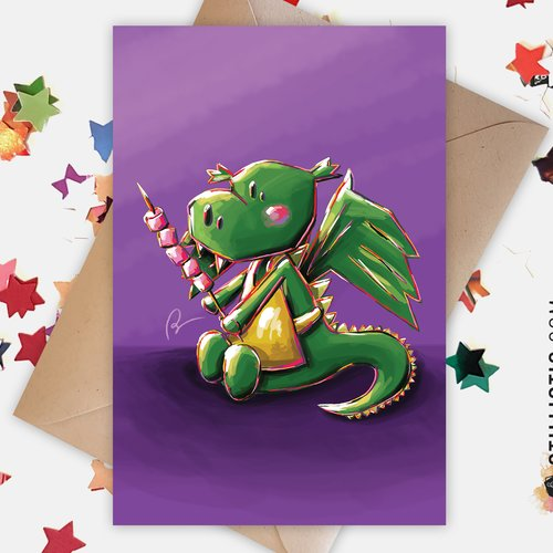 Carte de voeux amitié anniversaire dragon et chamallows