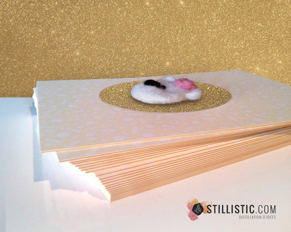 Carte de voeux grand format décoration Naissance Fille Saint-Valentin Fête des Mères Ours polaire et coeur laine feutrée + enveloppe