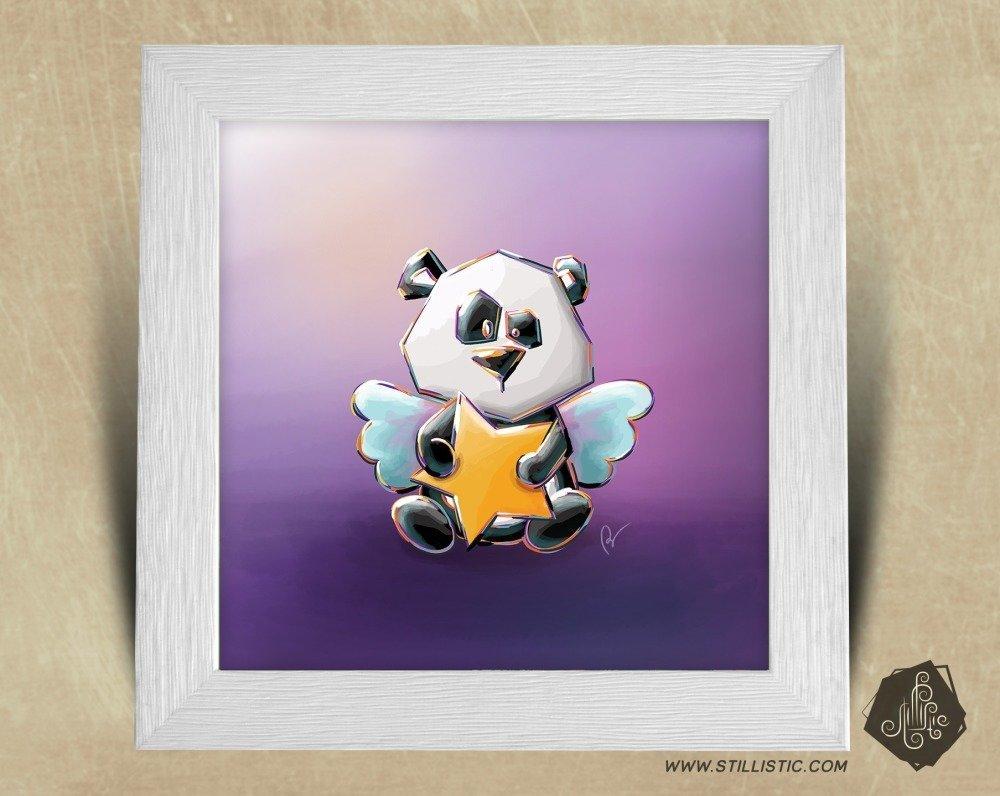Cadre carré 25x25 cadeau Naissance avec Illustration Bébé Ange Panda et étoiles pour Chambre Enfant bébé