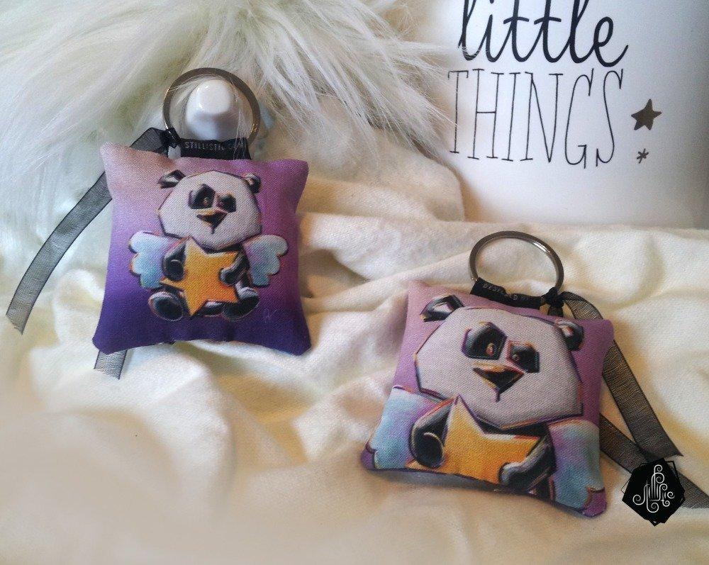 1 x Porte-clé tissu / Bijou de sac Illustration Panda Etoile fait main