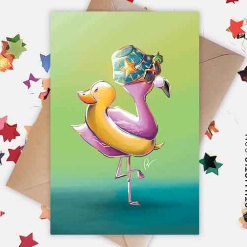 Carte de voeux flamant rose et canard bouée anniversaire naissance