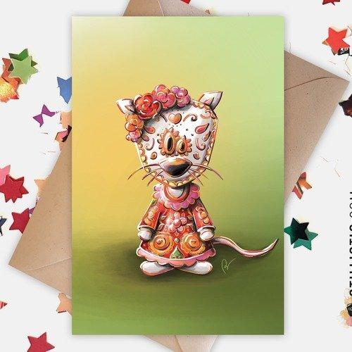 Carte de voeux souris mexicaine dia de los muertos halloween anniversaire naissance