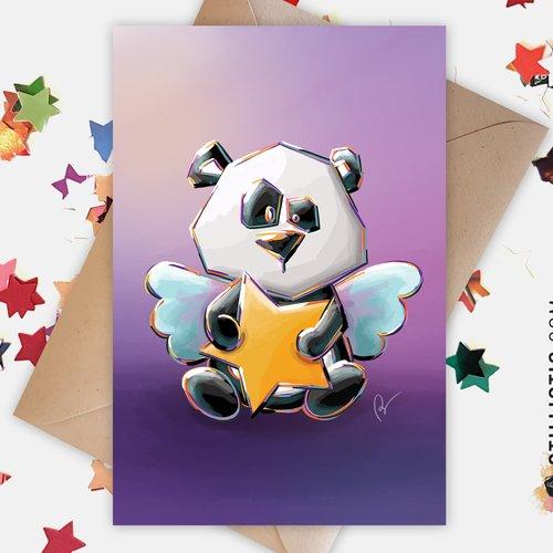 Carte de voeux bébé ange panda et étoile anniversaire naissance