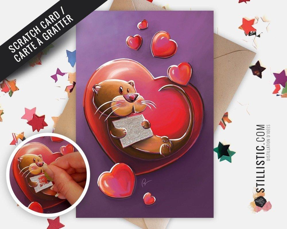 Carte de voeux à gratter Loutre Amour Saint-Valentin Collection effets spéciaux
