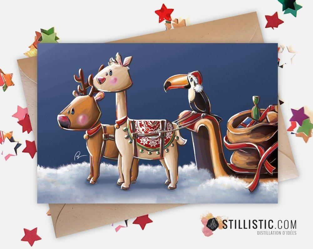 Carte de voeux Noël Nouvel An lama renne et traîneau