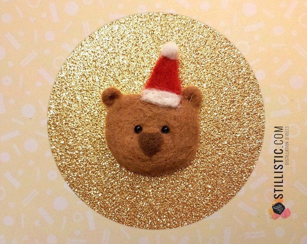 Carte de voeux grand format décoration Ours brun Noël laine feutrée + enveloppe