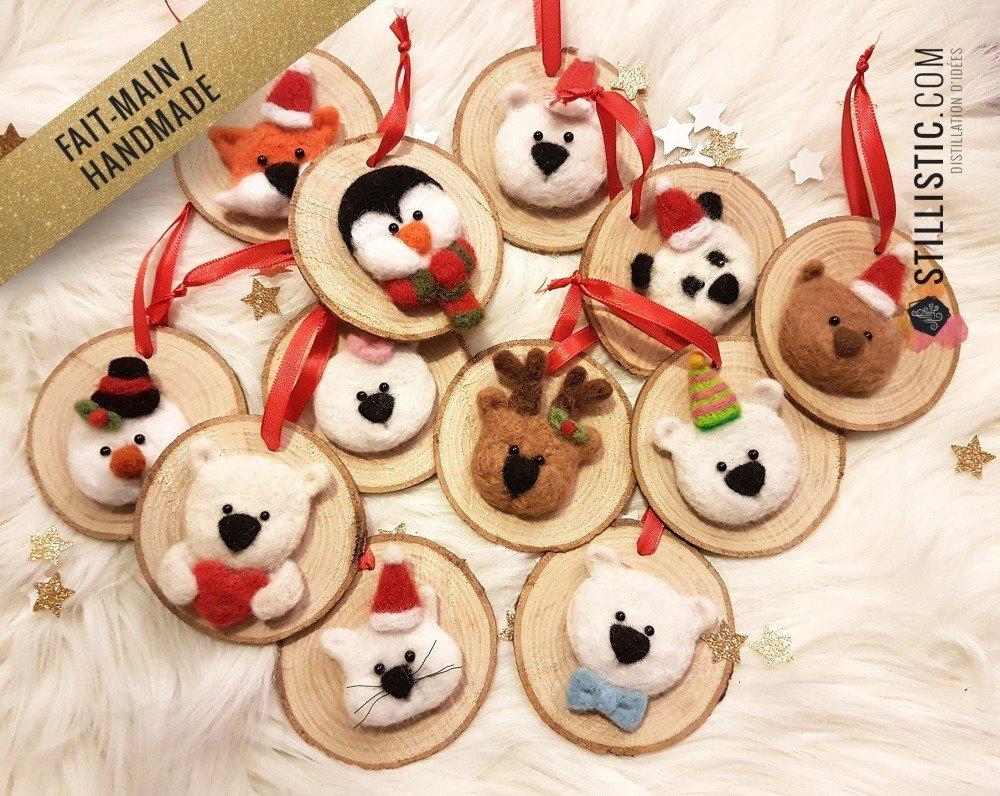Décoration sapin de Noël Naturel Ours polaire et coeur Fait-main bois et laine feutrée à l'aiguille