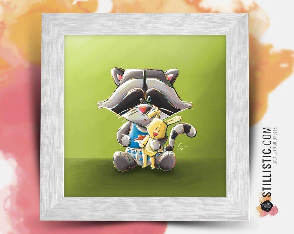 Cadre carré cadeau Noël Naissance 25x25 avec Illustration Noël bébé Raton laveur et lapin pour Chambre Enfant bébé