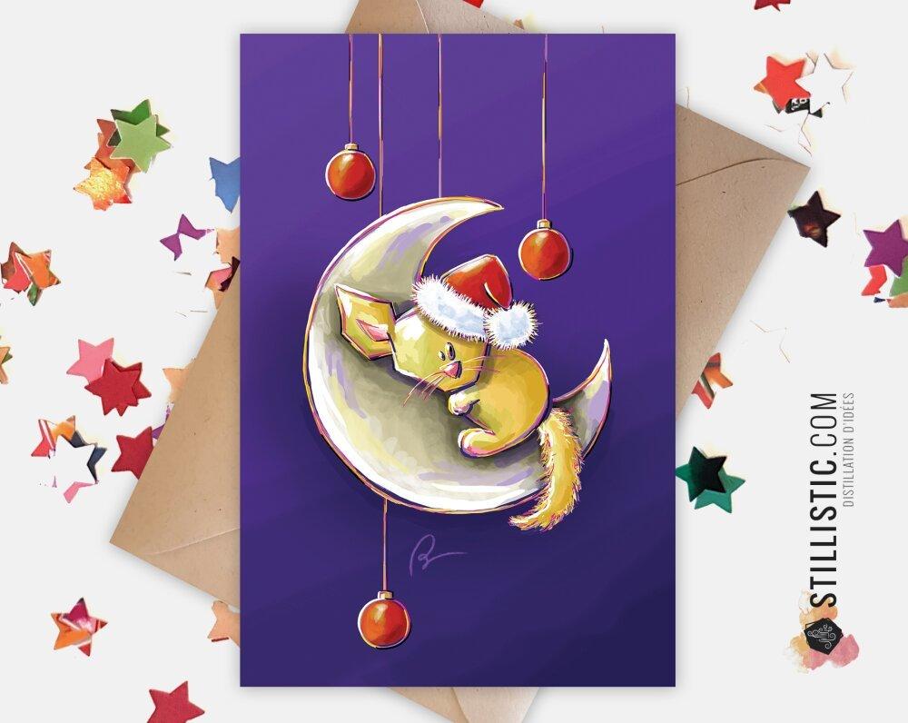 Carte de voeux Noël Nouvel An Fêtes de fin d'année Fennec Lune et boules de Noël