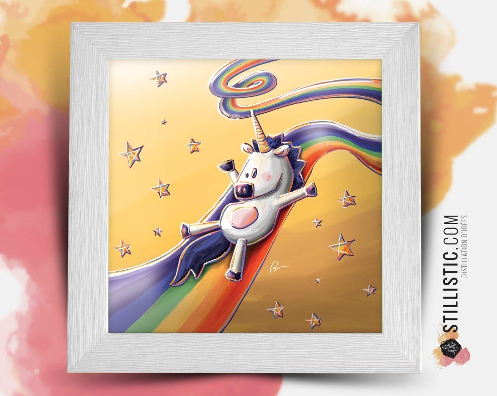 Cadre carré 25x25 avec Illustration Bébé licorne arc-en-ciel pour Chambre Enfant bébé