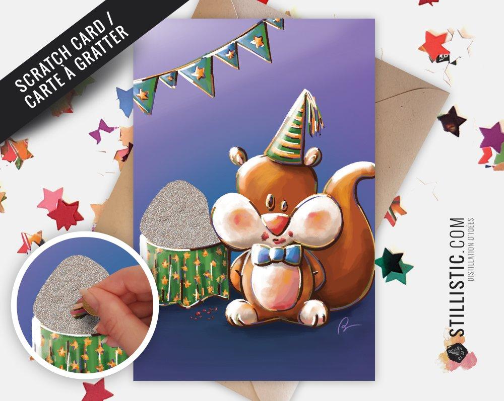 Carte de voeux à gratter Ecureuil anniversaire gâteau goûter Collection effets spéciaux
