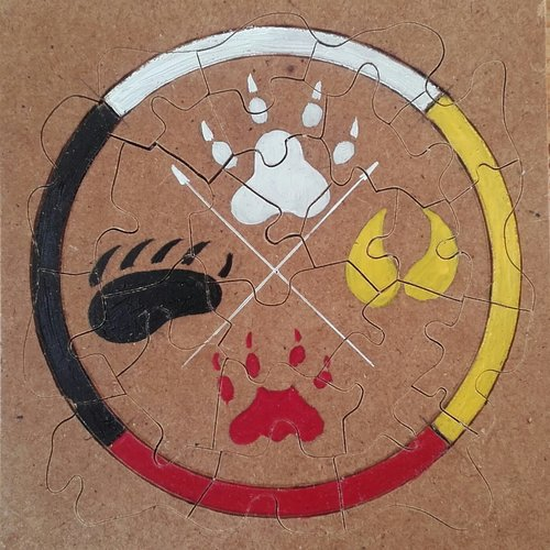 Puzzle roue médecine et animaux totem