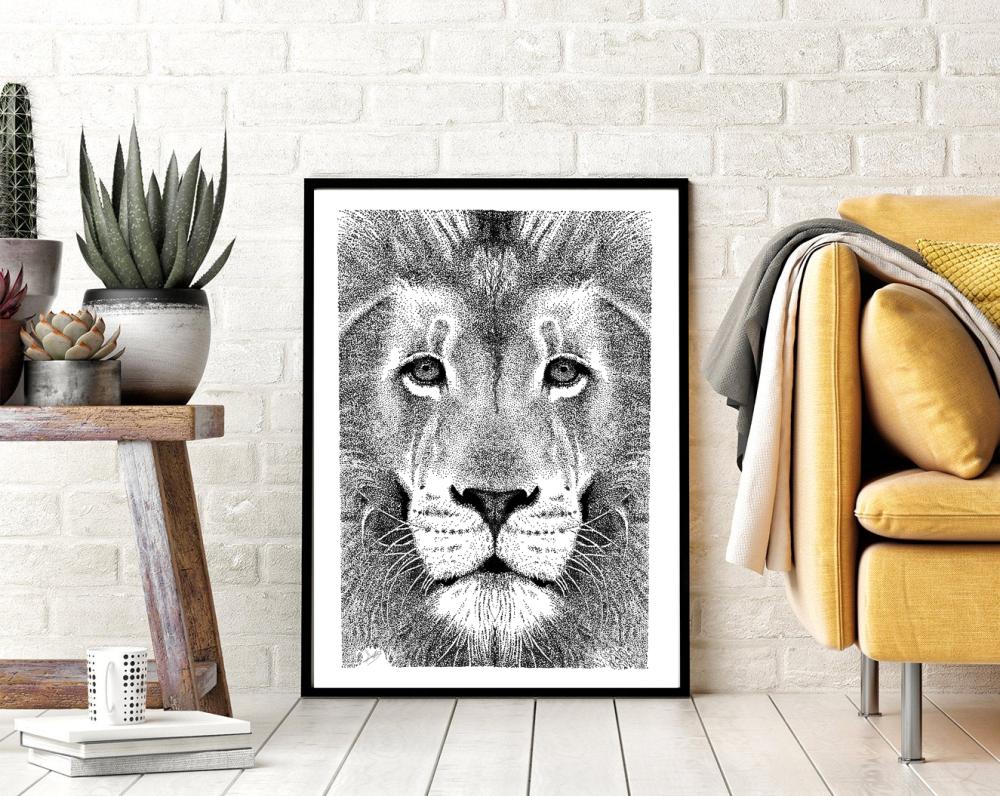 Illustration lion - Affiche, décoration murale, animaux, art, poster, format A4, à imprimer