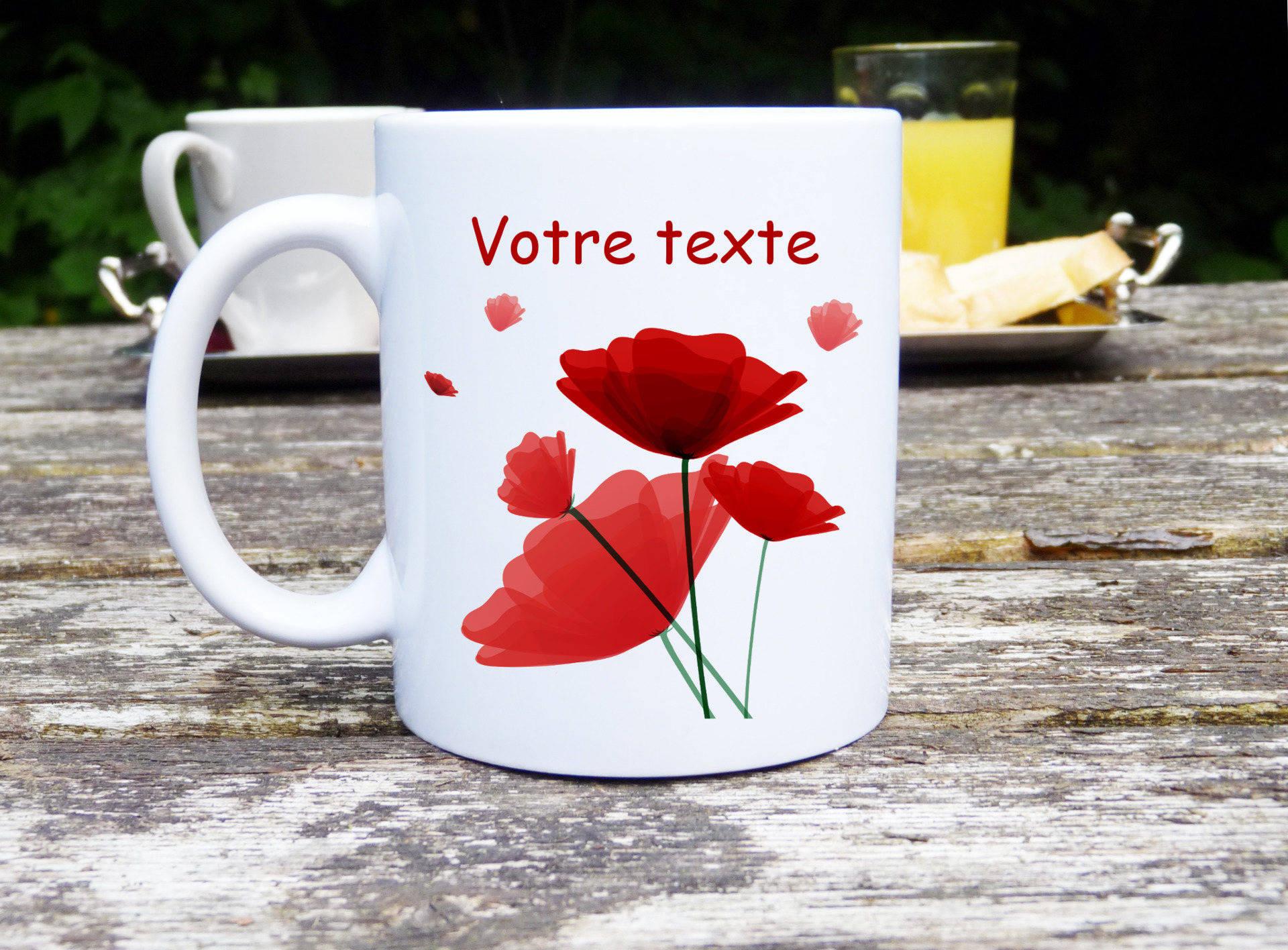 Mug coquelicot, Mug original et personnalisable, idée cadeau, tasse céramique, coquelicot, mug classique