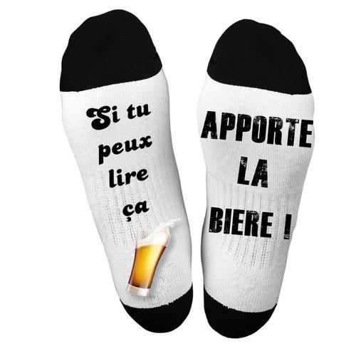 """Idée Cadeau Humoristique Chaussette """" va me chercher une bière"""" ! idée cadeau"""
