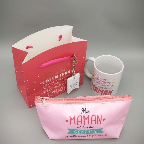 Coffret maman : un verre à cocktail + un bocal à message personnalisable + un plateau + un sac cadeau