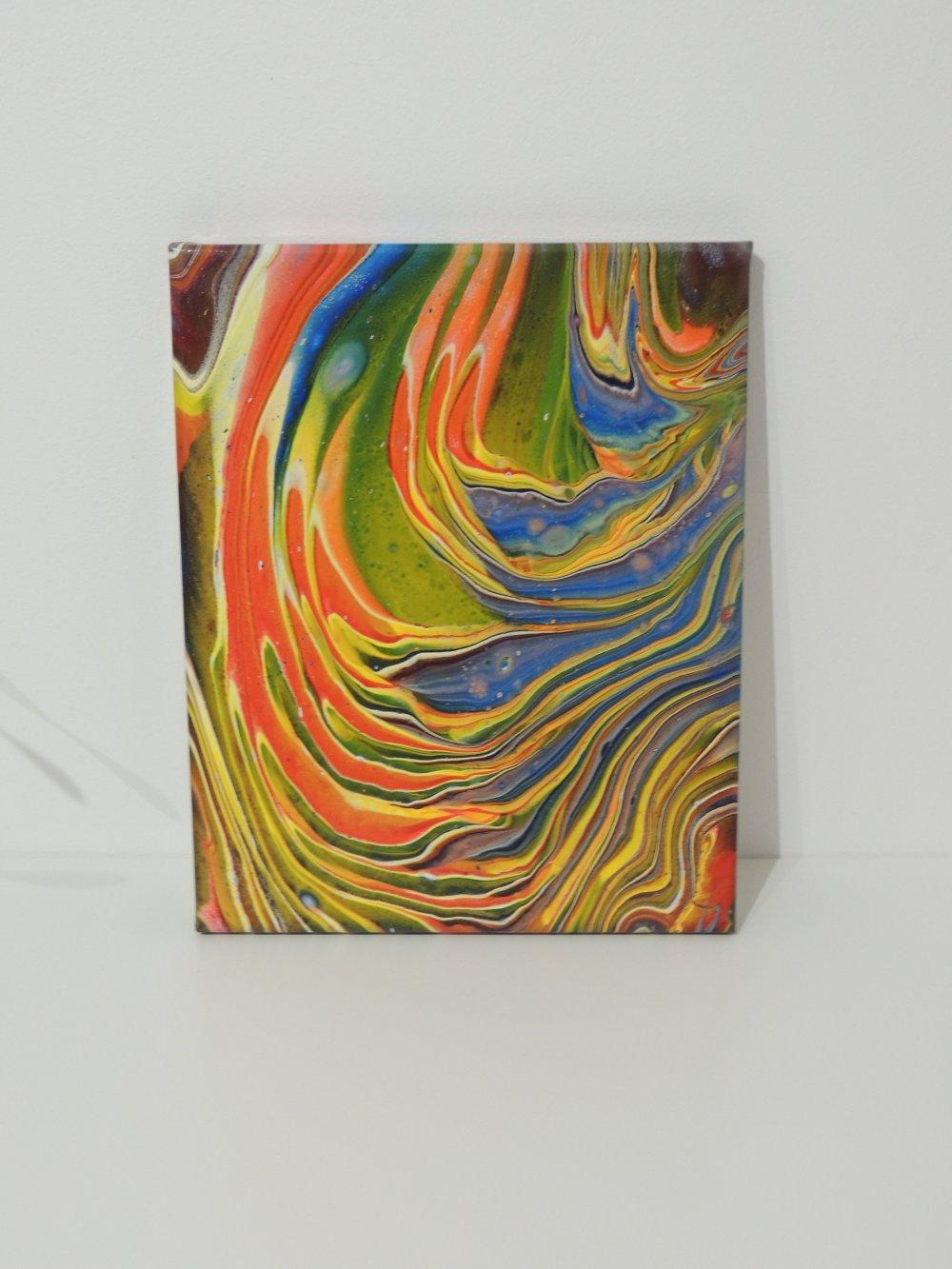 Les flammes , peinture acrylique, tableau abstrait