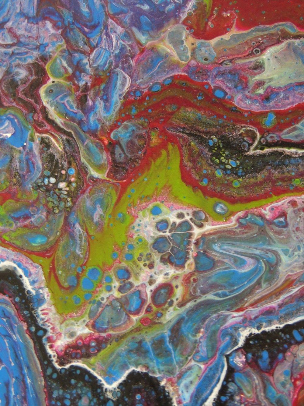 Blouvert, peinture acrylique, tableau abstrait