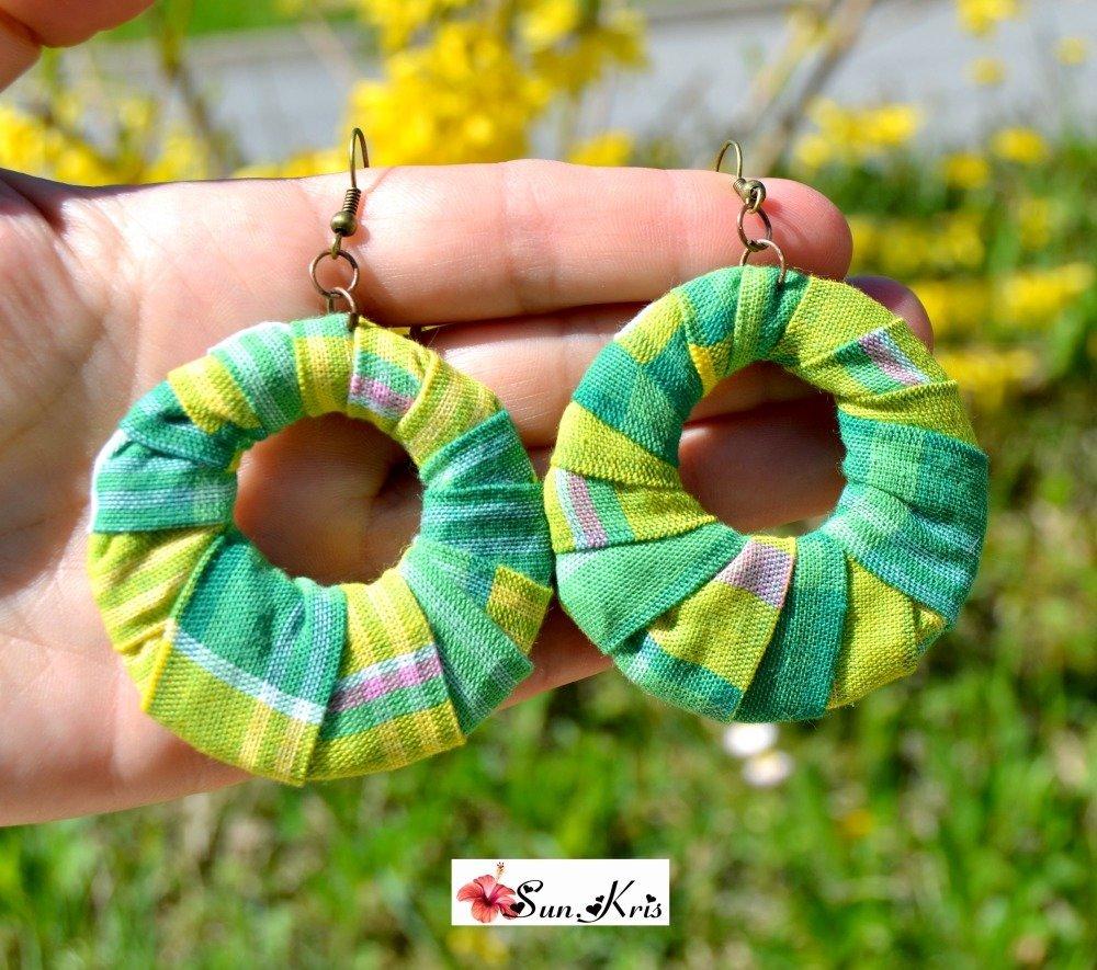 boucles d'oreilles wax, ethniques, tissus madras vert jaune, africain bijoux antillais