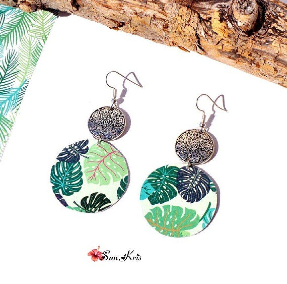 Boucles d'oreilles ronde papier vert jungle tropicale, feuille monstera