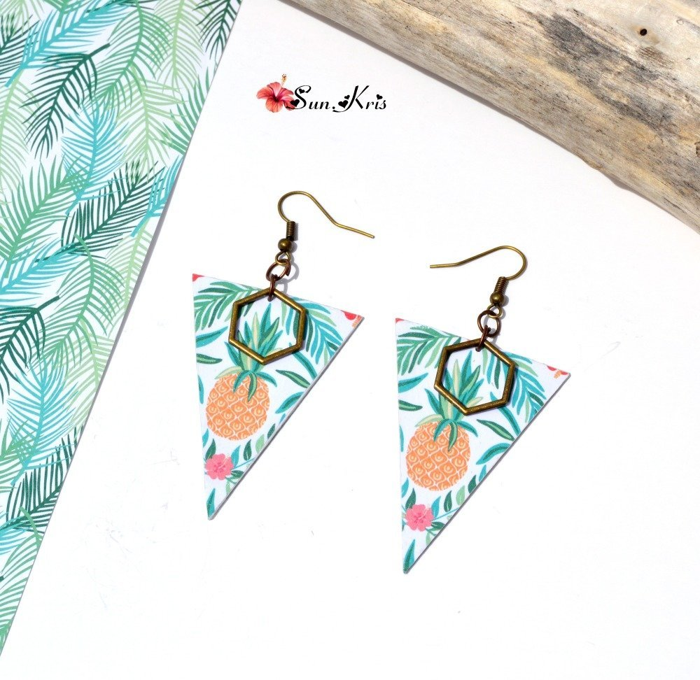 Boucles d'oreilles tropicales triangles motifs ananas bronze,vert,orange