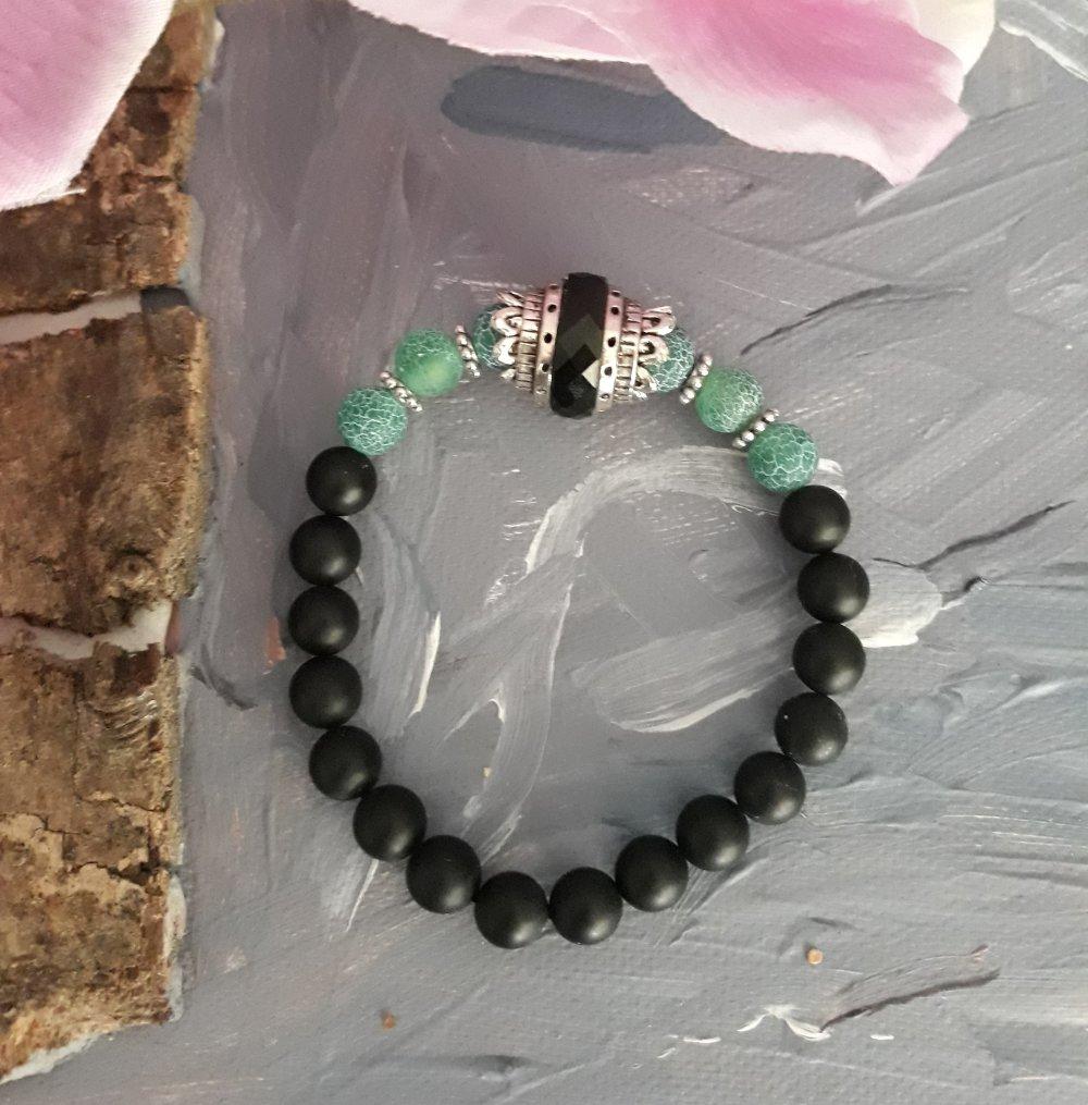 Bracelet en perles fines et en métal couleur argent pour Homme