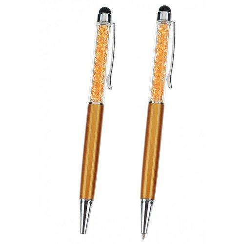Stylo orange /doré avec strass à l'intérieur