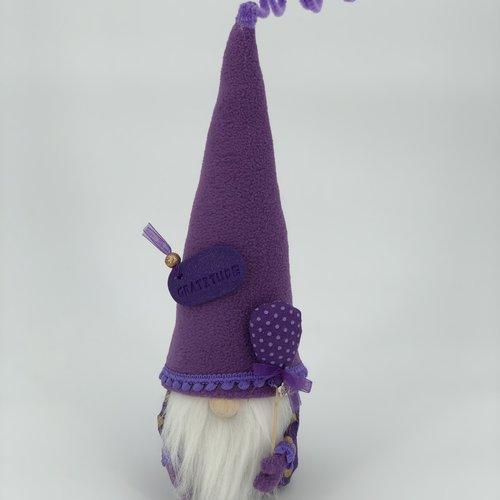 """Gnome collection """"gratitude""""  noeud mauve - gnome de printemps - articles de décoration"""