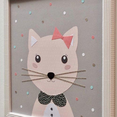 Tableau chambre enfant, déco chat rose et gris
