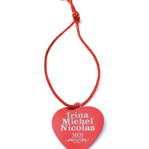 1 médaille personnalisé coeur aluminium gravé happy st. valentin irina michel nicola