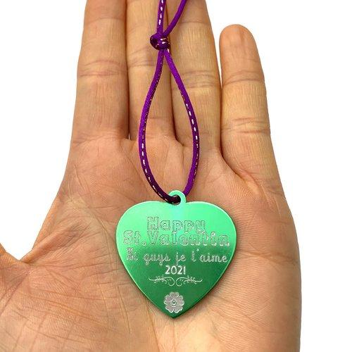 1 médaille à personnaliser coeur aluminium gravé happy st. valentin
