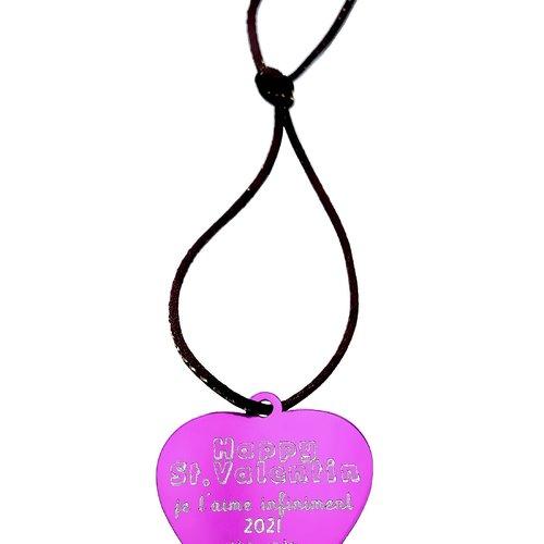 1 médaille à personnaliser coeur aluminium gravé happy st. valentin je t'aime infiniment