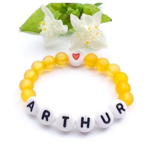 Bracelet à personnaliser arthur sur fil élastique avec prénom, texte, message, logo, initiale lettres de l'alphabet a-z